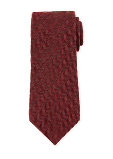 TOM FORD Tonal Stripes 9.5cm Silk/Cotton Tie  Red