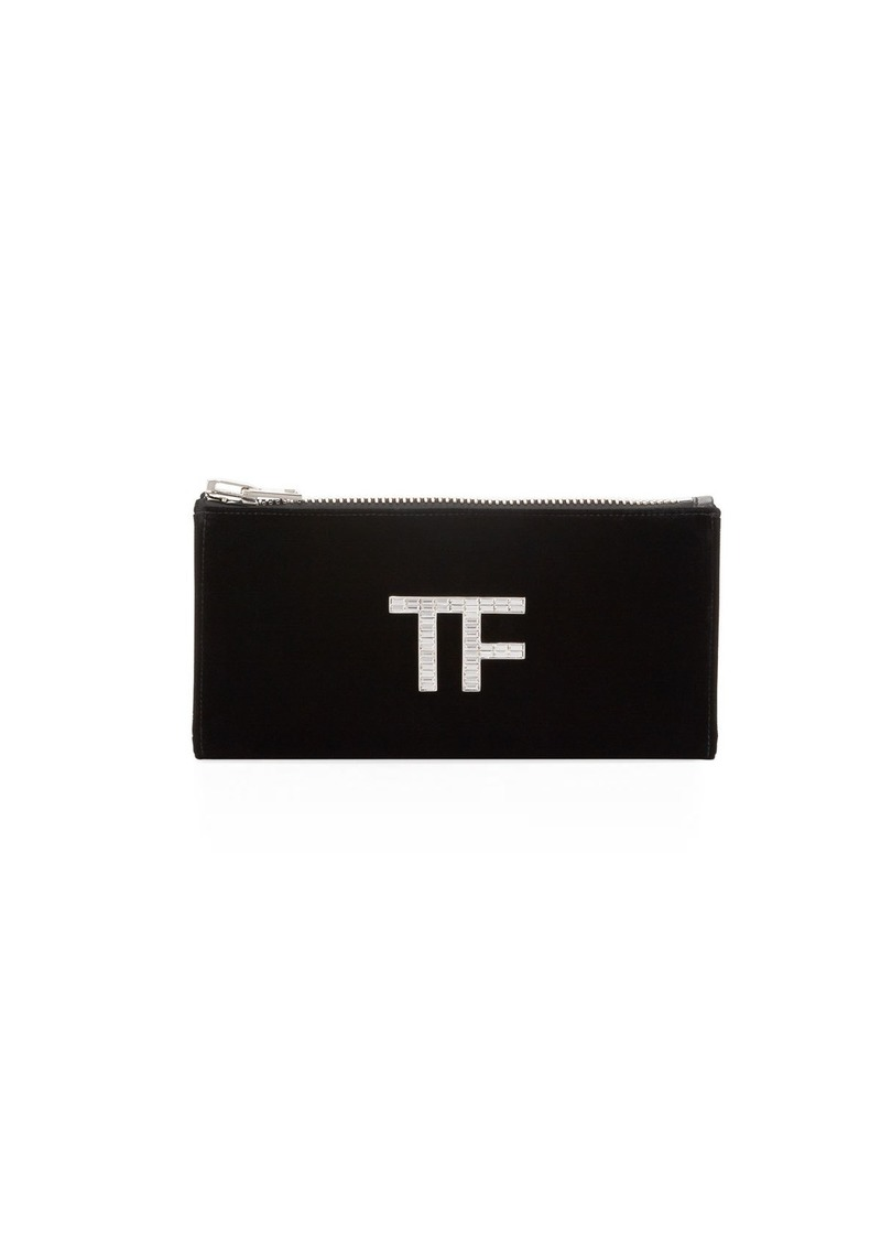 TOM FORD Velvet Clutch Bag with Crystal TF Logo