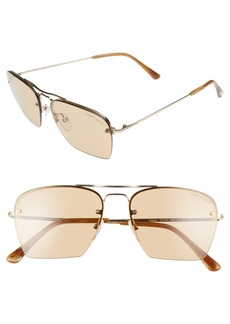 Tom Ford Walker 57mm Semi Rimless Square Sunglasses
