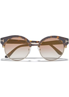 Tom Ford Woman Alissa Round-frame Acetate And Gold-tone Sunglasses Brown