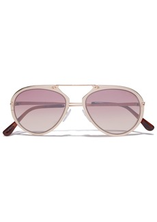 Tom Ford Woman Aviator-style Gold-tone Sunglasses Blush