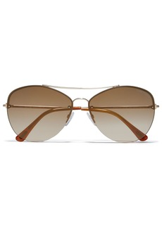 Tom Ford Woman Aviator-style Gold-tone Sunglasses Camel