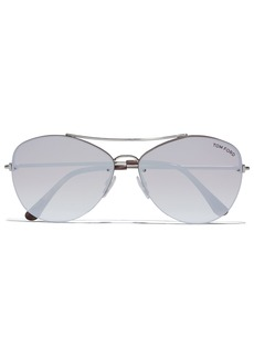 Tom Ford Woman Aviator-style Gold-tone Sunglasses Light Brown