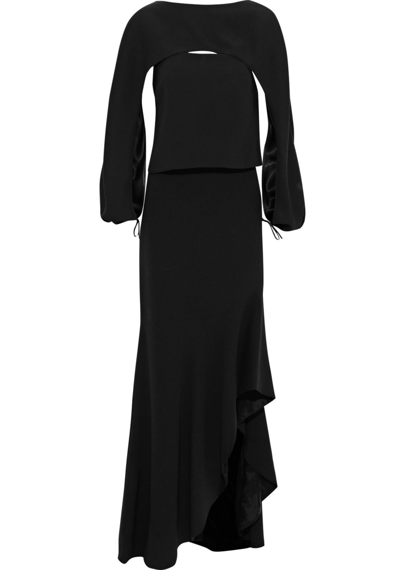Tom Ford Woman Cape-effect Silk-blend Crepe Gown Black