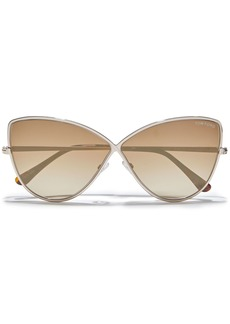 Tom Ford Woman Cat-eye Tortoiseshell Acetate And Gold-tone Mirrored Sunglasses Light Brown