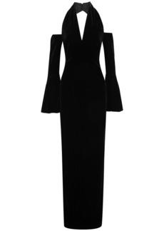 Tom Ford Woman Cold-shoulder Velvet Halterneck Gown Black