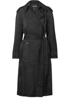 Tom Ford Woman Double-breasted Twill Trench Coat Black