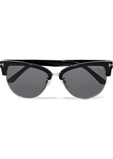Tom Ford Woman Fany D-frame Acetate And Gold-tone Sunglasses Black