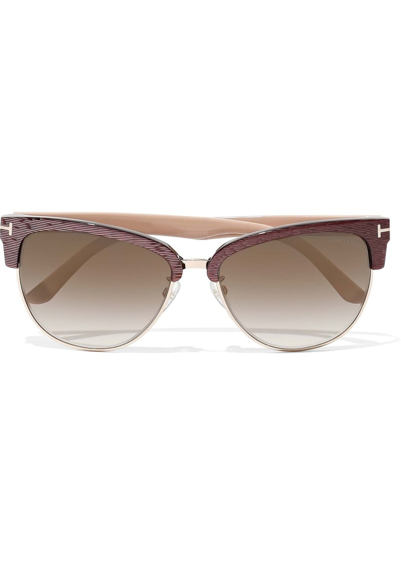 Tom Ford Woman Fany D-frame Acetate And Gold-tone Sunglasses Antique Rose