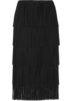 Tom Ford Woman Fringed Cady Midi Skirt Black