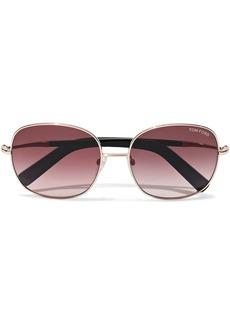Tom Ford Woman Georgina Square-frame Rose Gold-tone Mirrored Sunglasses Gold