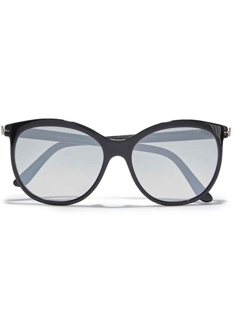 Tom Ford Woman Geraldine Round-frame Tortoiseshell Acetate Sunglasses Black