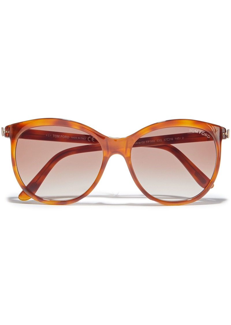 Tom Ford Woman Geraldine Round-frame Tortoiseshell Acetate Sunglasses Brown