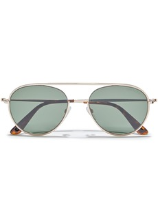 Tom Ford Woman Keith Aviator-style Gold-tone Sunglasses Dark Green