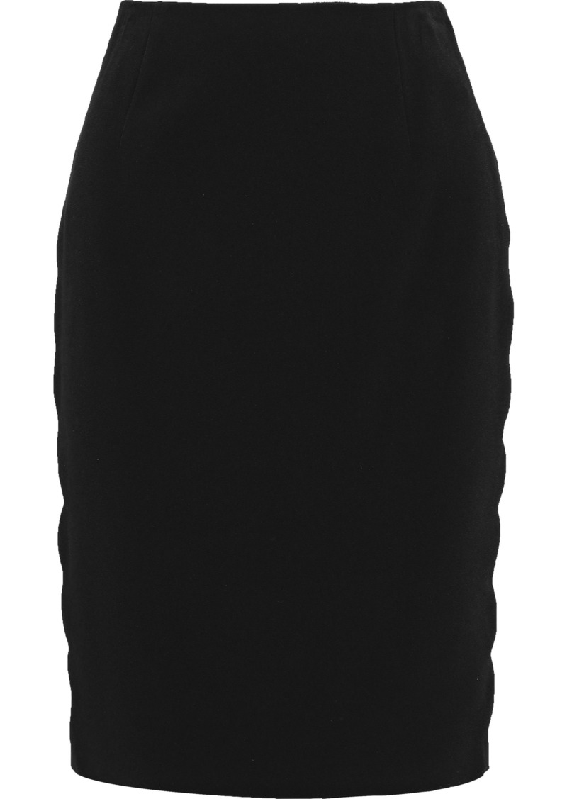 Tom Ford Woman Lace-up Mesh-trimmed Cady Pencil Skirt Black