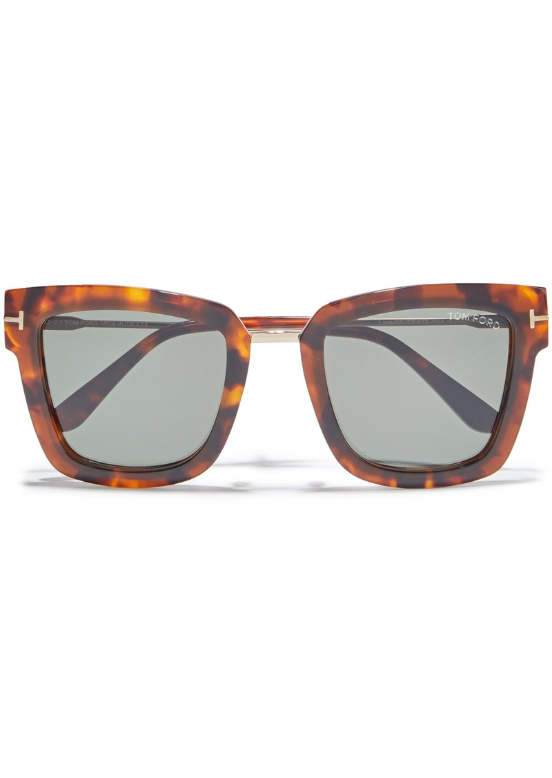 Tom Ford Woman Lara D-frame Tortoiseshell Acetate And Rose Gold-tone Sunglasses Green