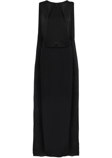 Tom Ford Woman Layered Draped Silk-crepe Chiffon And Satin Gown Black