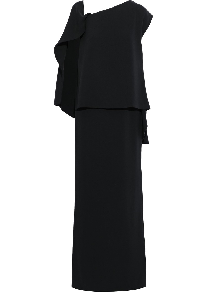 Tom Ford Woman Layered Lace-up Stretch-silk Ponte Gown Black