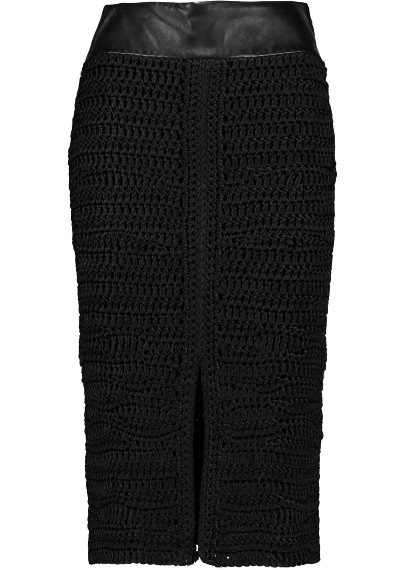 Tom Ford Woman Leather-trimmed Crocheted Silk Skirt Black