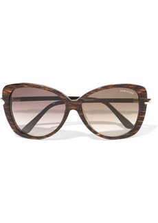 Tom Ford Woman Linda Butterfly-frame Printed Acetate And Gold-tone Sunglasses Chocolate