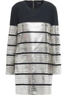 Tom Ford Woman Metallic Leather-appliquéd Cady Mini Dress Silver