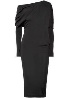 Tom Ford Woman One-shoulder Cashmere And Silk-blend Blend Dress Black