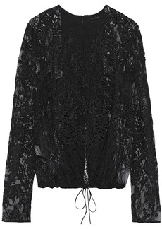 Tom Ford Woman Open-back Appliquéd Corded Lace Top Black