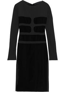Tom Ford Woman Paneled Crepe De Chine And Velvet Dress Black