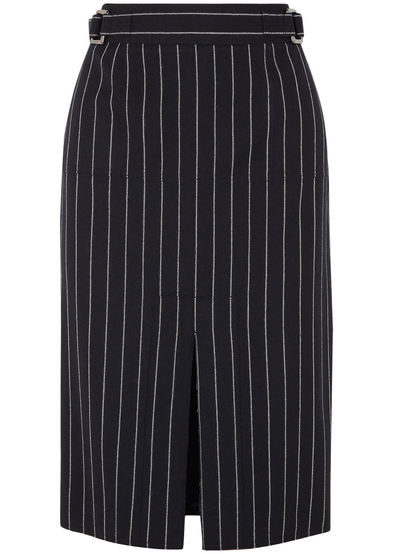 Tom Ford Woman Pinstriped Wool Pencil Skirt Black