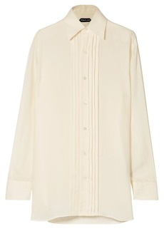 Tom Ford Woman Pleated Cupro-twill Shirt Ivory