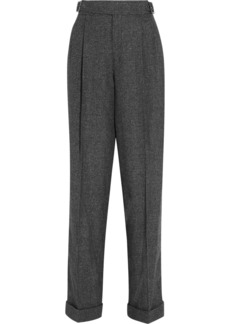 Tom Ford Woman Prince Of Wales Wool Silk And Cashmere-blend Tapered Pants Dark Gray