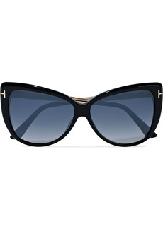 Tom Ford Woman Reveka Butterfly-frame Gold-tone And Acetate Sunglasses Black