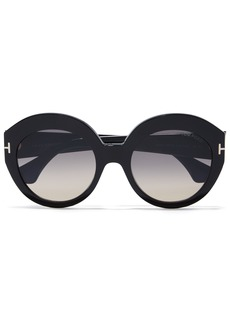 Tom Ford Woman Round-frame Tortoiseshell Acetate Sunglasses Brown