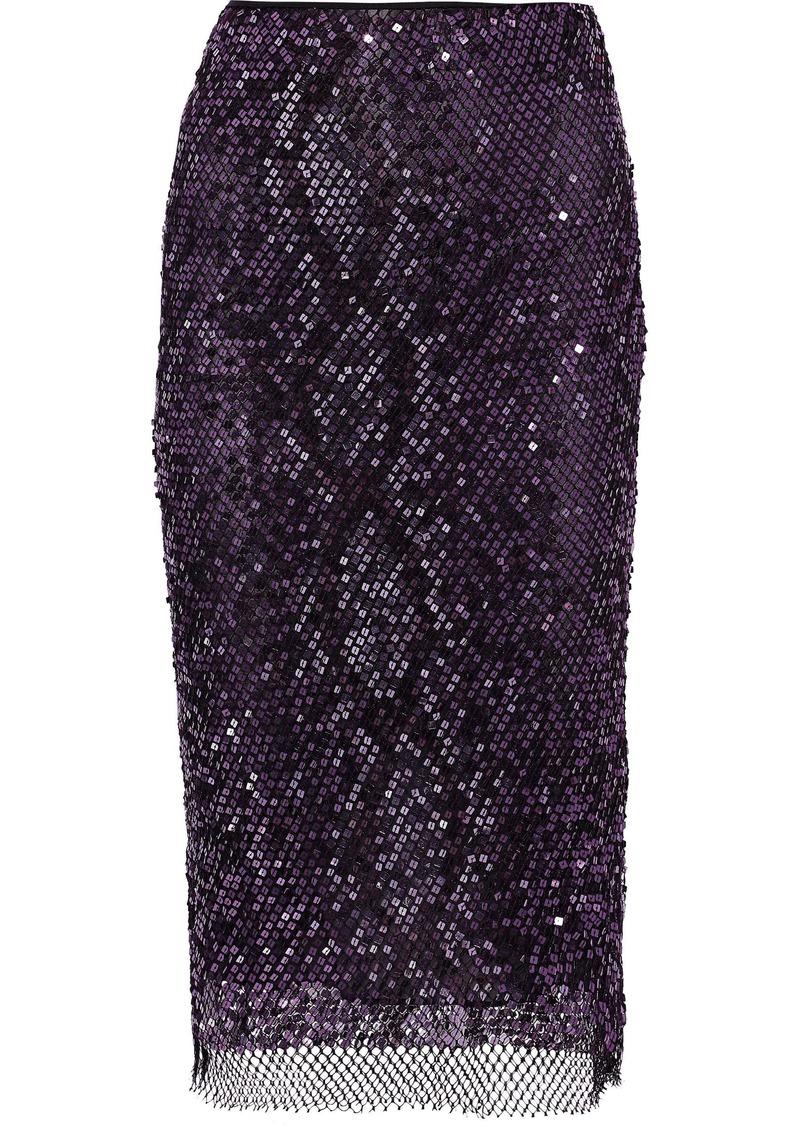 Tom Ford Woman Sequined Cotton-blend Fishnet Pencil Skirt Purple