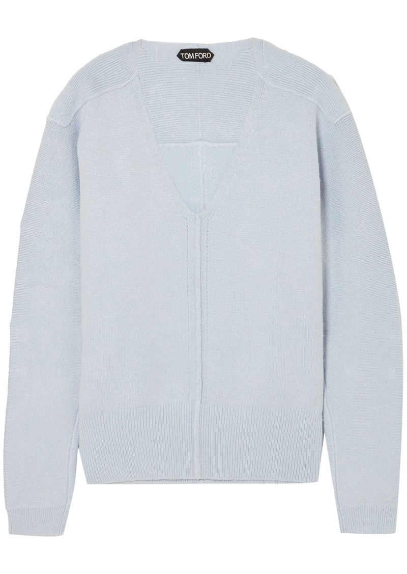 Tom Ford Woman Silk-blend Sweater Sky Blue