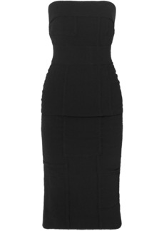 Tom Ford Woman Strapless Embossed Stretch-crepe Dress Black