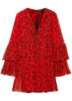 Tom Ford Woman Tiered Leopard-print Silk-georgette Mini Dress Tomato Red