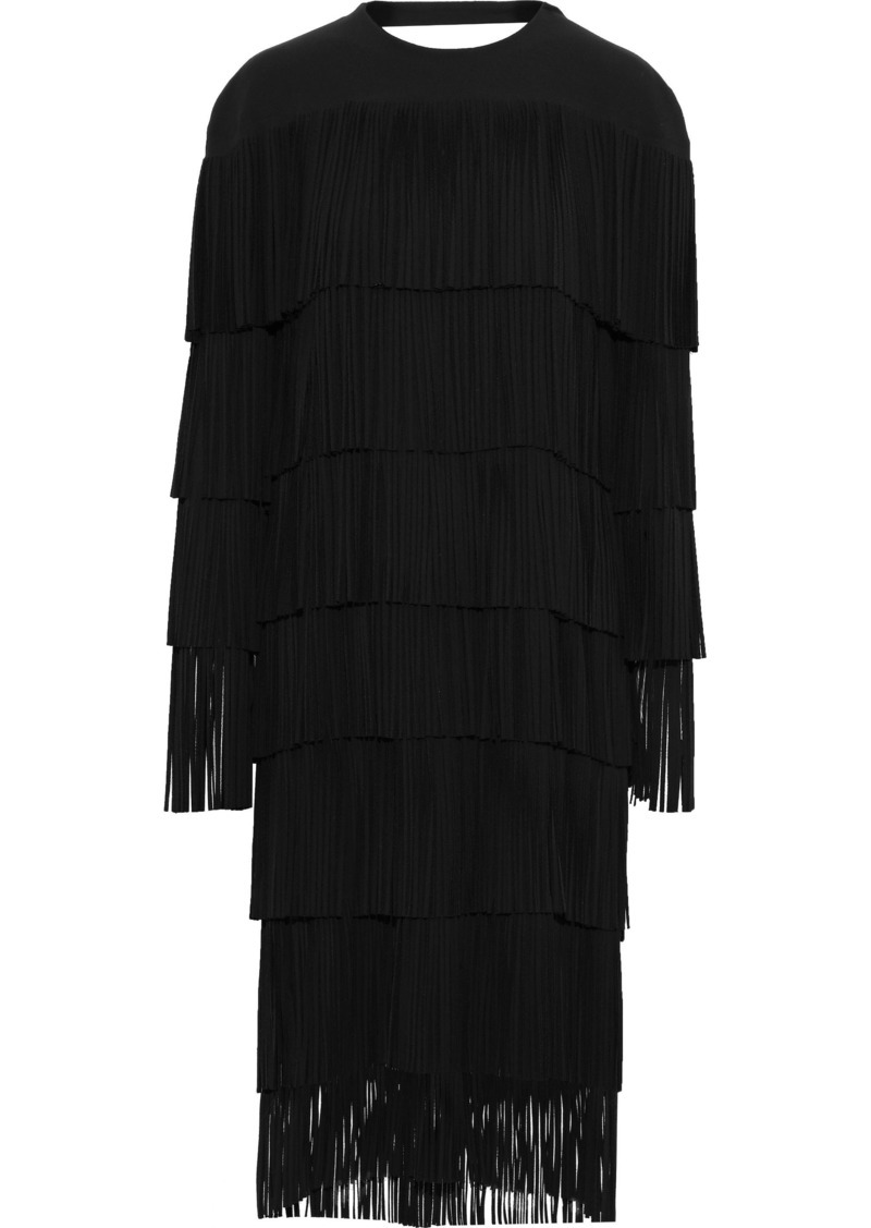 Tom Ford Woman Tiered Open-back Fringed Ponte Midi Dress Black