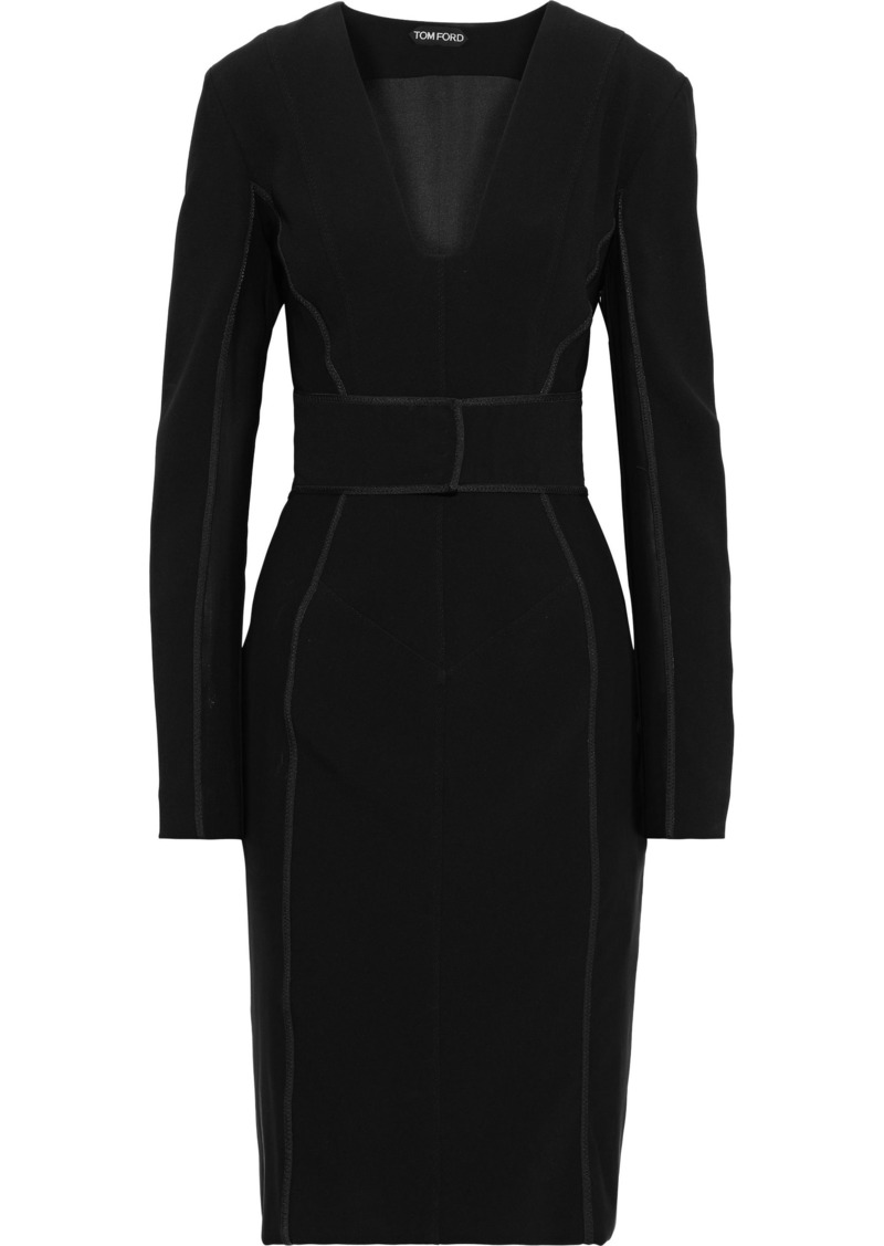 Tom Ford Woman Tulle-paneled Crepe Dress Black