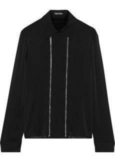 Tom Ford Woman Zip-detailed Silk Crepe De Chine Shirt Black