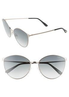 Tom Ford Zeila 60mm Mirrored Cat Eye Sunglasses