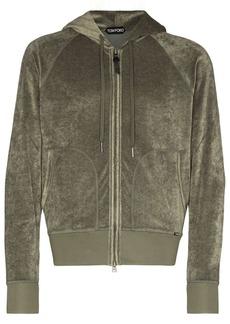Tom Ford velvet-effect zip-up hoodie