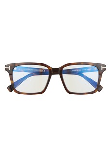 Men's Tom Ford 54mm Square Blue Light Blocking Glasses - Dark Havana/ Blue Block Lens
