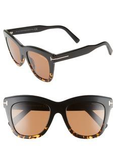 Women's Tom Ford Julie 52mm Sunglasses - Black/ Dark Havana/ Brown