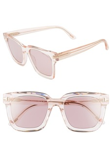 Women's Tom Ford Sari 52mm Square Sunglasses - Pink/ Mirrored Violet