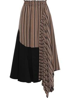 Tome Woman Asymmetric Poplin-paneled Striped Twill Skirt Brown