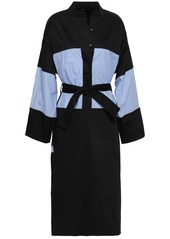 Tome Woman Belted Paneled Stretch-cotton Shirt Dress Black