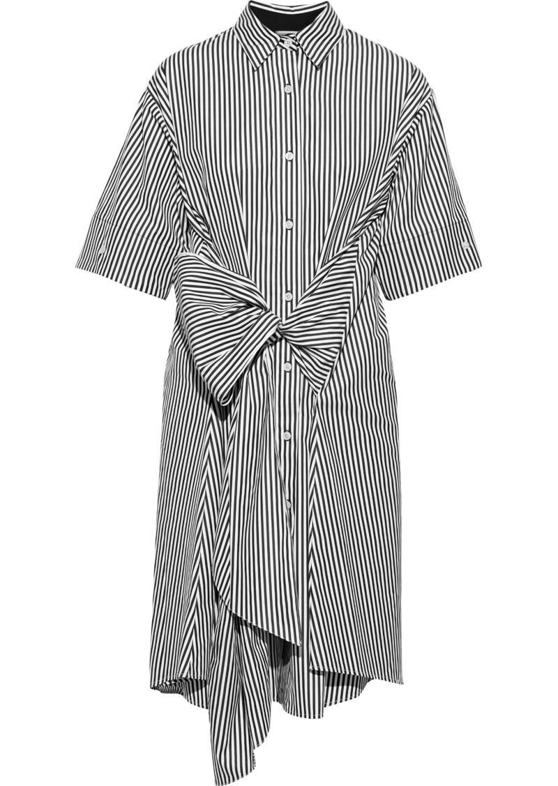 Tome Woman Bow-detailed Striped Cotton-poplin Shirt Dress White