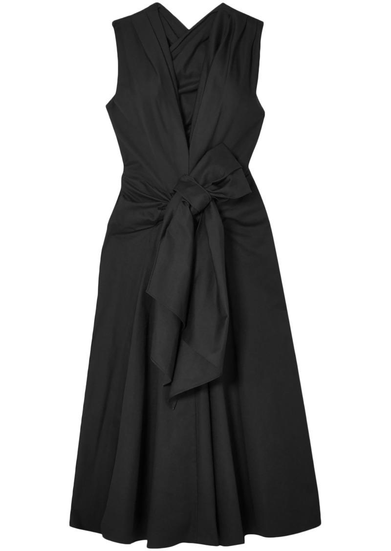 Tome Woman Bow-embellished Cotton-blend Faille Dress Black