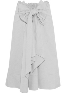 Tome Woman Bow-embellished Cotton Midi Skirt Gray